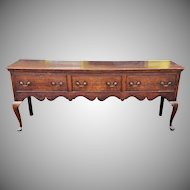 Antique English Oak 18th Century Queen Anne 3 Drawer Sideboard ~ Welsh Dresser Base