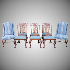 Set 8 Ethan Allen 18th Century Classics Mahogany Chippendale Style Dining Room Chairs 22-6540-252