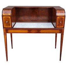 Very Fine Inlaid Mahogany Hepplewhite Style Marble Top Cellarette Bar Cabinet Table c1900.