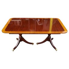 Kindel Furniture Banded Mahogany Double Pedestal Dining Room Table w/ 4 leaves 1990s