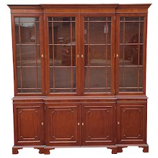 Kindel Furniture National Trust Large Mahogany 2 Piece Dining Room Breakfront China Cabinet 1990s