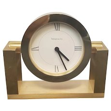 Small Battery Operated Tiffany & Co. Brass Swivel Desk Clock #215389