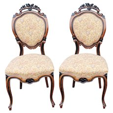 Pair Antique 19th Century Satinwood & Ebony Carved Victorian Parlour Chairs c.1880