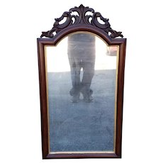 Antique Mahogany Victorian Era Hanging Wall Mirror ~ Looking Glass c1880s