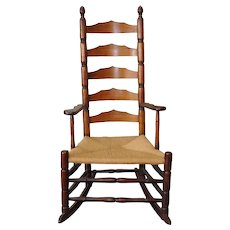 Antique 19th Century New England Maple Shaker Ladder Back Rocker Rocking Chair c1830