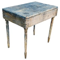 Antique Reclaimed Very Rustic & Primitive Shop Crafted Side Table c1880