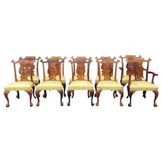 Set 10 Imported Solid Carved Mahogany Chinese Chippendale Style Dining Room Chairs c1990s