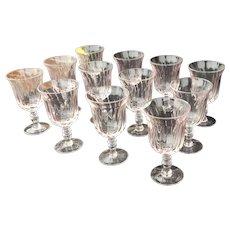 Set 12 Gorham Gentry Pink Crystal Water Swirled Goblets c1990s