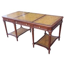 Maitland-Smith Leather Top Mahogany Tiered Writing Office Desk c1990s