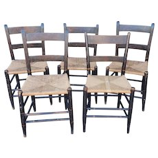 Set 5 Matched Period Antique Stenciled Country Rush Seat Side Chairs c1840