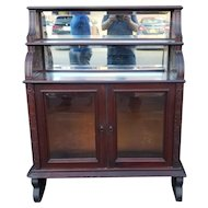 Antique Early Victorian Incised Mahogany Glass Credenza Cabinet On Stand c1860