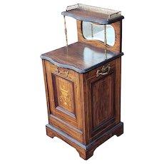 Antique 19th Century English Regency Rosewood Coal Scuttle Purdonium Cabinet c1880s
