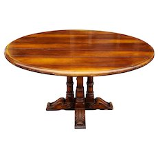 Very Nice Solid Wood Country French Boarded Round Top Dining Room Pedestal Table c1980s