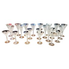 Set of 22 Frosted Flower Petal Stemware Flared Wine Glasses