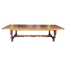 Large 10' English Pine Custom Crafted Flemish Renaissance Style Bread Board End Tavern Dining Table