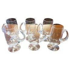 "Set 6 Glass 6 1/2"" Squat Stem Footed Irish Coffee Mugs"