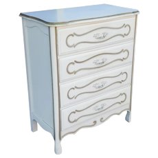 Painted White French Provincial Chic 1960s Bedroom 4 Drawer Chest Of Drawers