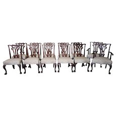Set 12 High Quality c1960s Carved Mahogany Chippendale Dining Room Chairs