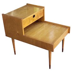 Vintage Mid Century 1950s Maple Custom For Modernage Bedroom Step Side Nightstand Table ~  Made In Sweden