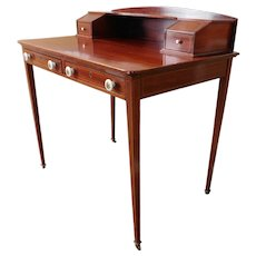 Antique Inlaid Mahogany Edwardian 2 Drawer Writing Desk c1900