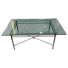 Fine Stippled Wrought Iron w/ Beveled Glass Top Kreiss Designs Coffee Table c1990s