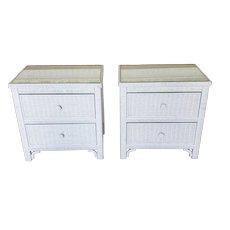 Pair Henry Link For Lexington Furniture Wicker Glass Top Bedroom Night Table Stands