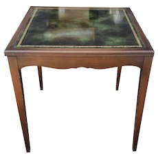 Vintage 1940s Mahogany Green Leather Top Flip Top Games Card Table