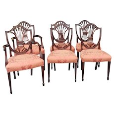 Set 6 Mahogany Stickley Furniture Monroe Place Hepplewhite Style Dining Room Chairs Model #4587
