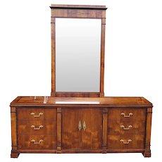 1990s Century Furniture Classical Biedermeier Style Triple Bedroom Dresser & Mirror