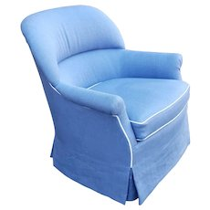Petite Size Light Blue w/ White Piping Swivel & Rocking Bedroom Club Chair c1990s