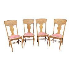 Set 4 Antique Victorian Carved Pressed Back Dining Room Chairs c1890