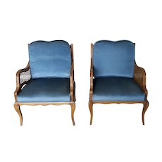 Pair 1950s French Provincial Fruitwood Caned Side Armchairs w/ Blue Cushions