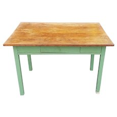 1920s Painted Green Kitchen Table Base w/ Older Added Oak Board Top