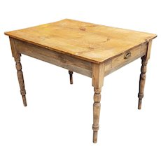 Antique Primitive Rustic Pine Boarded Top Farmhouse Table w/ Single Drawer c1900