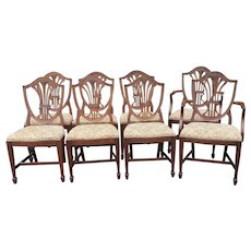 Set 8 Early 20th Century Mahogany Shield Back Hepplewhite Fallon & Hellen Dining Room Chairs