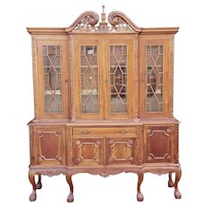 20th Century Mahogany Reproduction Chippendale Style Carved Dining Room China Cabinet