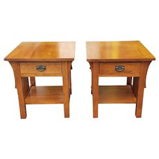 Pair Kincaid Furniture American Artifacts Oak Arts & Crafts Style Mission Side ~ End Tables 1990s