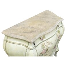 Small Paint Decorated Italian Venetian Bombe Style 3 Drawer Commode c1980s