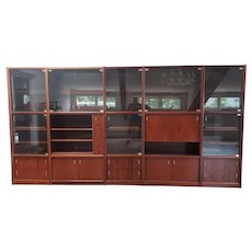 1980s Rosewood 5 pc Sectional Wall Unit Display Cabinet w/ Bar & Glass Doors