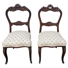 Pair Antique 19th Century Carved Mahogany Victorian Era Occasional Parlor Side Chairs c1880