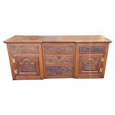 Antique Continental Carved Oak 18th Century Cabinet Buffet ~ Legs Removed