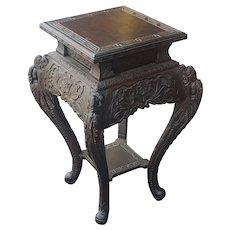20th Century Carved Chinese Asian Tabouret Plant Stand Table c1950