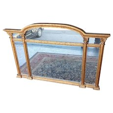 Very Nice Late 20th Century Speckled Gold Large Sideboard or Mantel Mirror 55.25 X 36.75