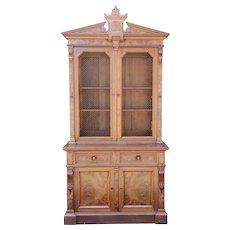Antique 19th Century Palatial Size Burl Walnut Eastlake Victorian Butler's Secretary Desk c1860