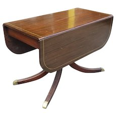 Vintage 1930s Charak Furniture Mahogany Drop Leaf Danbury Dining Room Table w/ 3 Leaves