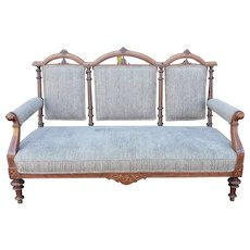 Very Fine Antique Inlaid Mahogany Victorian Era 19th Century Upholstered Settee c1880