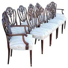 Set 10 Antique Mahogany Shield Back Hepplewhite Dining Room Chairs c1920s