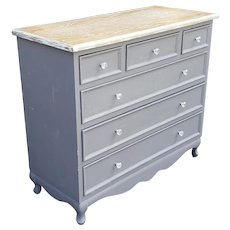 Painted Grey with Washed Top 6 Drawer 1970s Bedroom Chest
