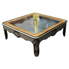 Drexel Heritage Et Cetera Glass Top Asian Chinoiserie Style Coffee Table