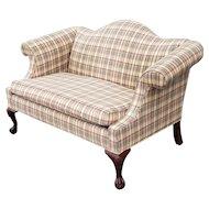 Ethan Allen Camel Back Living Room Upholstered Chippendale Loveseat 1990s